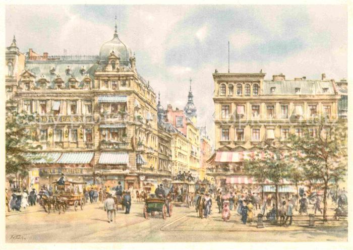 AK / Ansichtskarte Kuenstlerkarte Wolfgang Tritt Berlin Unter den Linden Kranzlerecke  Kat. Kuenstlerkarte