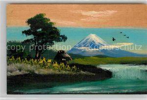 AK / Ansichtskarte Handgemalt Japan Holzkarte  Kat. Besonderheiten