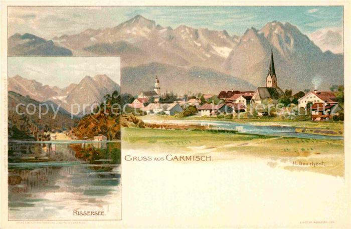 AK / Ansichtskarte Garmisch Partenkirchen Rissersee Kuenstlerkarte H. Deuchert  Kat. Garmisch Partenkirchen