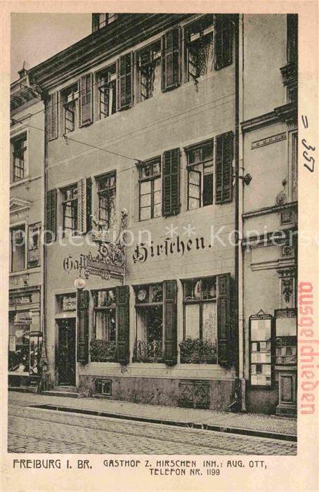 AK / Ansichtskarte Freiburg Breisgau Gasthof Hirschen  Kat. Freiburg im Breisgau