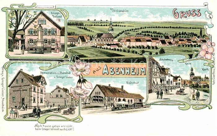 AK / Ansichtskarte Abenheim Kriegerdenkmal Bahnhof Kirche Restaurant zum Bahnhof  Kat. Worms
