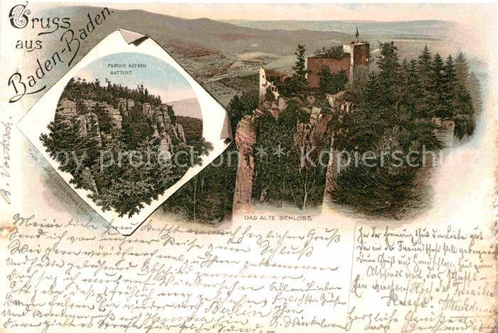 AK / Ansichtskarte Baden Baden Altes Schloss Partie auf dem Battert Kat. Baden Baden