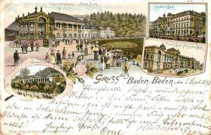 AK / Ansichtskarte Baden Baden Conversationshaus Musikkiosk Trinkhalle Friedrichsbad Augustabad Kat. Baden Baden