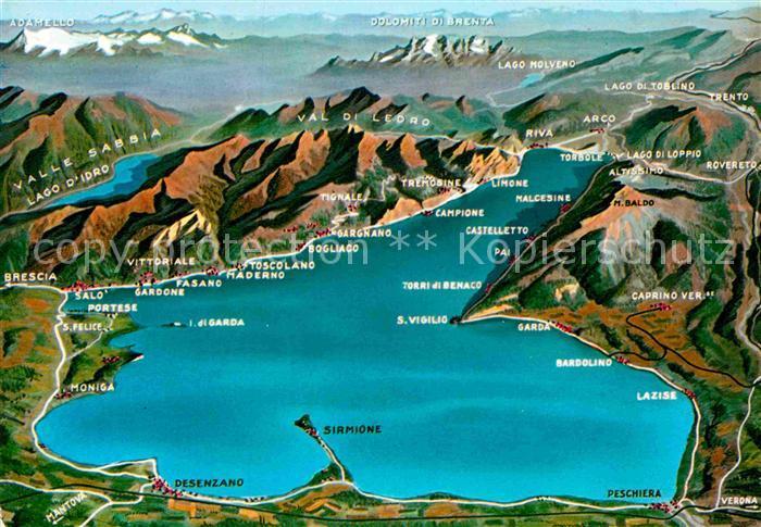 Ak Ansichtskarte Gardasee Lago Di Garda Landkarte Kat Italien