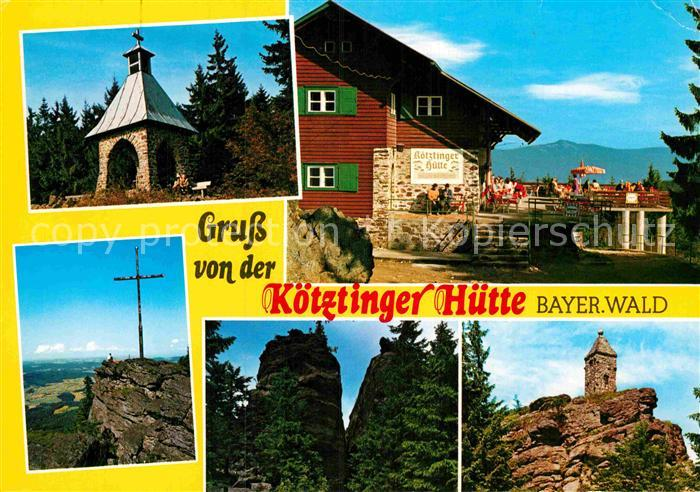 AK / Ansichtskarte Koetzting Koetztinger Huette auf dem Kaitersberg Kreuz Felsen Waldschmidt Denkmal Kat. Bad Koetzting