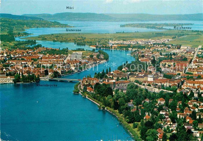 AK / Ansichtskarte Konstanz Bodensee mit Vorort Petershausen Insel Reichenau Untersee Hoeri Fliegeraufnahme Kat. Konstanz