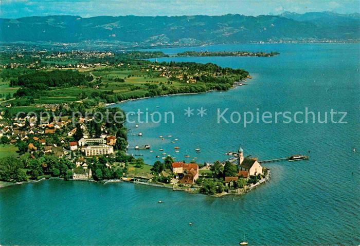 AK / Ansichtskarte Wasserburg Bodensee mit Blick auf Lindau und Bregenz Alpen Fliegeraufnahme Kat. Wasserburg (Bodensee)