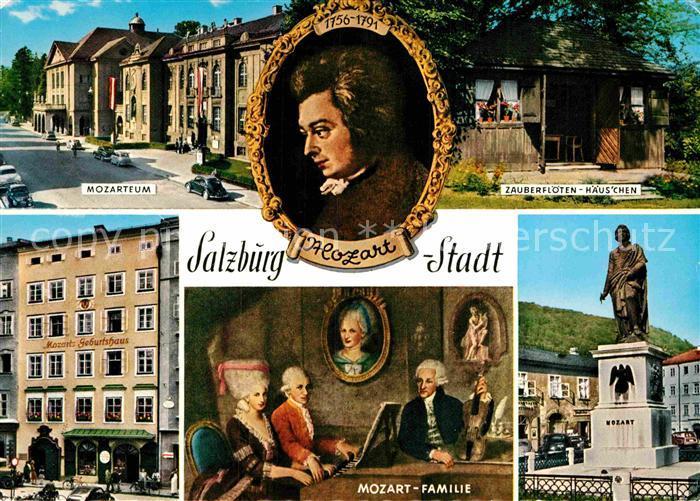 AK / Ansichtskarte Mozart Wolfgang Amadeus Salzburg Zauberfloeten Haeuschen Mozarteum Mozart Familie  Kat. Komponist