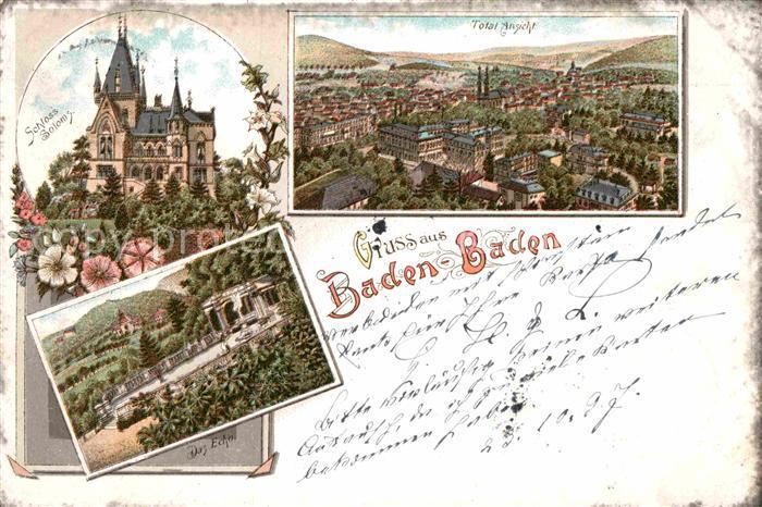 AK / Ansichtskarte Baden Baden Schloss Solms Panorama Das Echo Kat. Baden Baden