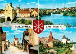 AK / Ansichtskarte Sulzfeld Main Teilansichten Stadttor Partie am Fluss Tuerme Wappen Kat. Sulzfeld a.Main