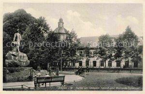 AK / Ansichtskarte Siegen Westfalen Partie am Unteren Schloss Bismarck Denkmal Kat. Siegen