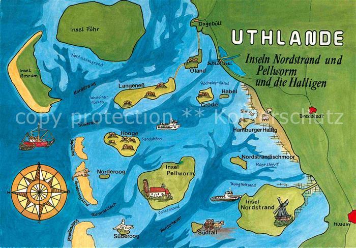 Pellworm Karte.Ak Ansichtskarte Nordstrand Inseln Nordstrand Und Pellworm Und Die Halligen Landkarte Kat Nordstrand