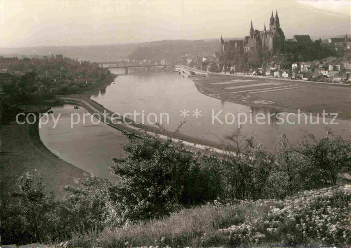 AK / Ansichtskarte Meissen Elbe Sachsen Panorama Blick ueber die Elbe mit Burgberg Albrechtsburg Kat. Meissen