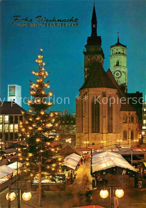 Stuttgart Weihnachtsmarkt.Ak Ansichtskarte Stuttgart Weihnachtsmarkt Stiftskirche Rathaus Kat Stuttgart