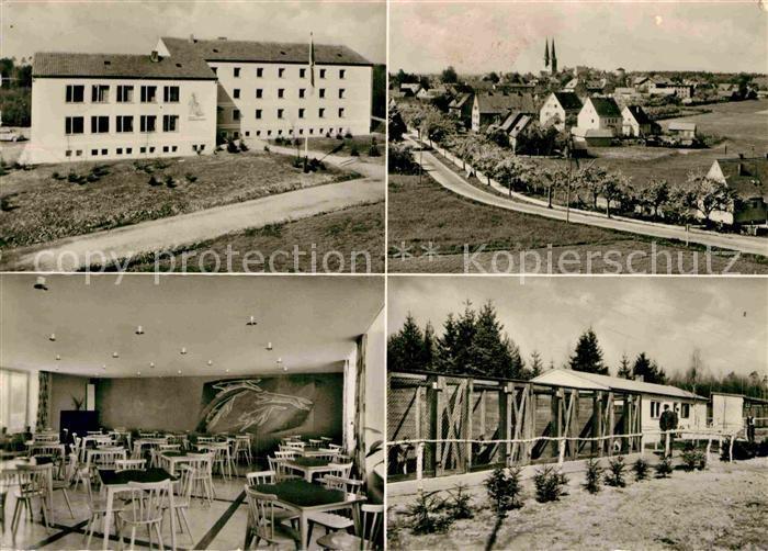AK / Ansichtskarte Neuendettelsau Zollhundeschule Zwingeranlage Ortsansicht mit Kirche Kat. Neuendettelsau