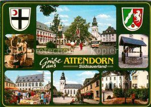 AK / Ansichtskarte Attendorn Markt Kirche Brunnen Kat. Attendorn