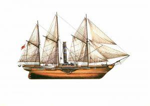 AK / Ansichtskarte Schiffe Ships Navires Raddampfer James Watt 1845 Zeichnung Swoboda