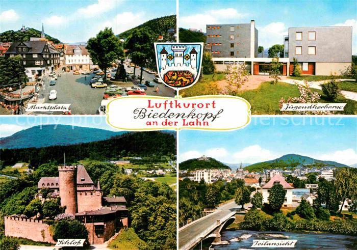 AK / Ansichtskarte Biedenkopf Marktplatz Jugendherberge Schloss Teilansicht Luftkurort an der Lahn Kat. Biedenkopf