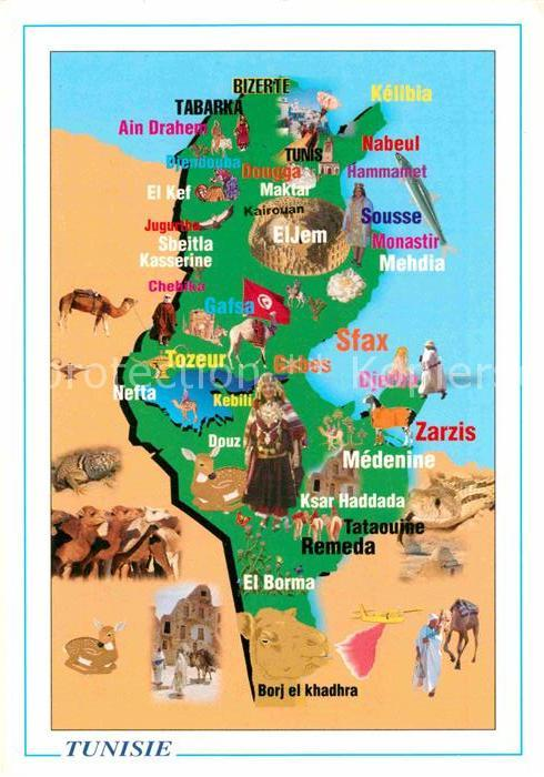 AK / Ansichtskarte Tunesien Landkarte Kat. Tunesien