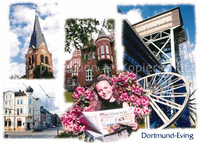 AK / Ansichtskarte Eving Kirche Strassenpartie Zeche  Kat. Dortmund