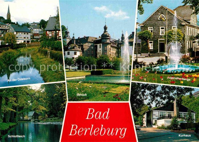 AK / Ansichtskarte Bad Berleburg Partie an der Odeborn Schlossteich Schloss Jugendherberge Springbrunnen Kurhaus Kat. Bad Berleburg