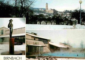 AK / Ansichtskarte Birnbach Rottal Thermalbad Ortsansicht mit Kirche Statue