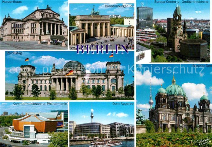 AK / Ansichtskarte Berlin Konzerthaus Brandenburger Tor Europacenter Gedaechtniskirche Reichstag Kammermusiksaal Philharmonie Dom Aquarell Berliner Dom Kat. Berlin
