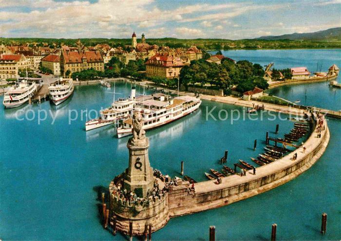 AK / Ansichtskarte Lindau Bodensee Fliegeraufnahme Hafenpartie Kat. Lindau (Bodensee)