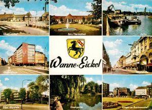 AK / Ansichtskarte Wanne Eickel Bahnhof Thermalbad Hafen Glueckaufhaus Hauptstrasse Altersheim Stadtgarten Anlagen Kat. Herne