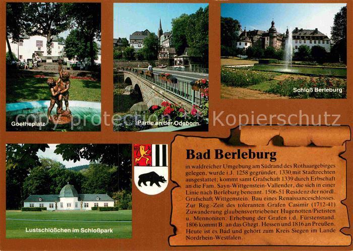 AK / Ansichtskarte Bad Berleburg Goetheplatz Partie an der Odeborn Schloss Berleburg Lustschloesschen im Schlosspark Kat. Bad Berleburg