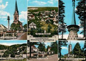 AK / Ansichtskarte Bischofsgruen Ev Kirche Ehrenmal Huegelfelsen Fernsehturm Ostmarkstr Postplatz Ochsenkopfturm Kat. Bischofsgruen