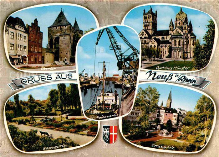 AK / Ansichtskarte Neuss Obertor Quirinus Muenster Drususplatz Rosengarten Hafen Kat. Neuss