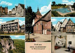 AK / Ansichtskarte Hessisch Oldendorf Orts und Teilansichten Schwimmbad Kirche Fachwerkhaeuser Kat. Hessisch Oldendorf