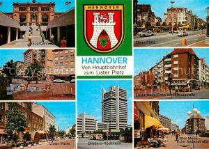 AK / Ansichtskarte Hannover Hauptbahnhof Lister Platz Markt Lister Meile Ecke Wedekindstrasse Bredero Hochhaus Sedanstrasse Kat. Hannover
