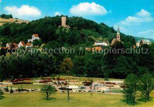 AK / Ansichtskarte Bad Soden Salmuenster Neuer Kurpark mit Blick zur Stolzenberg Burgruine Kat. Bad Soden Salmuenster
