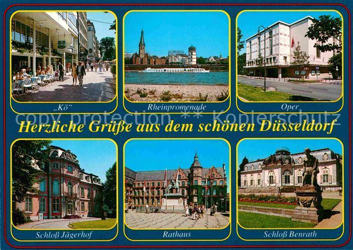 AK / Ansichtskarte Duesseldorf Koe Rheinpromenade Oper Schloss Rathaus Denkmal Kat. Duesseldorf