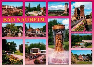 AK / Ansichtskarte Bad Nauheim Teilansichten Kurort Kurpark Musikpavillon Brunnen Gradierwerk Bruecke Kat. Bad Nauheim