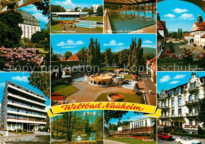 AK / Ansichtskarte Bad Nauheim Parkhotel Sanatorium Thermalsolebad Sprudel Kurpark Kurhaus Sprudelhof Kat. Bad Nauheim