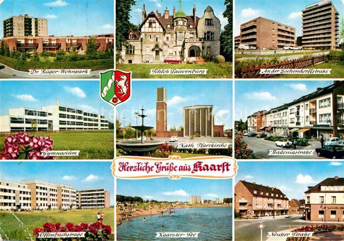 AK / Ansichtskarte Kaarst Wohnpark Gymnasium Offenbachstrasse Schloss Kirche See Hochhaus Strassenpartie Kat. Kaarst