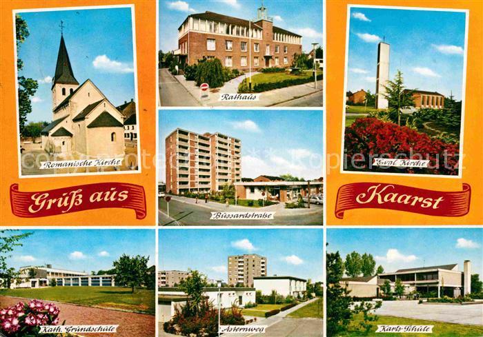 AK / Ansichtskarte Kaarst Kirche Rathaus Strassenpartie Schule Asternweg Hochhaus Kat. Kaarst