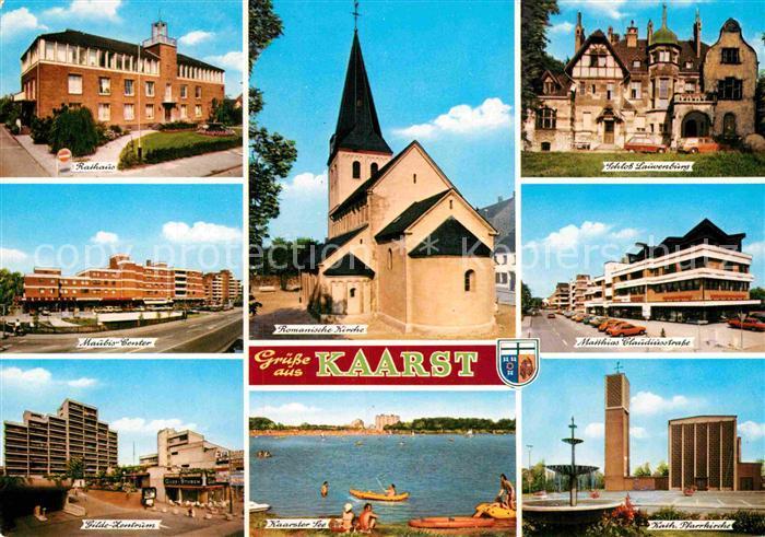 AK / Ansichtskarte Kaarst Rathaus Gilde Zentrum Kirche See Schloss Strassenpartie Kat. Kaarst