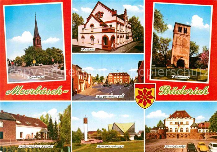 AK / Ansichtskarte Buederich Duesseldorf Kirche Rathaus Strassenpartie Ehrenmal Auktionshaus Landsknecht Kat. Meerbusch