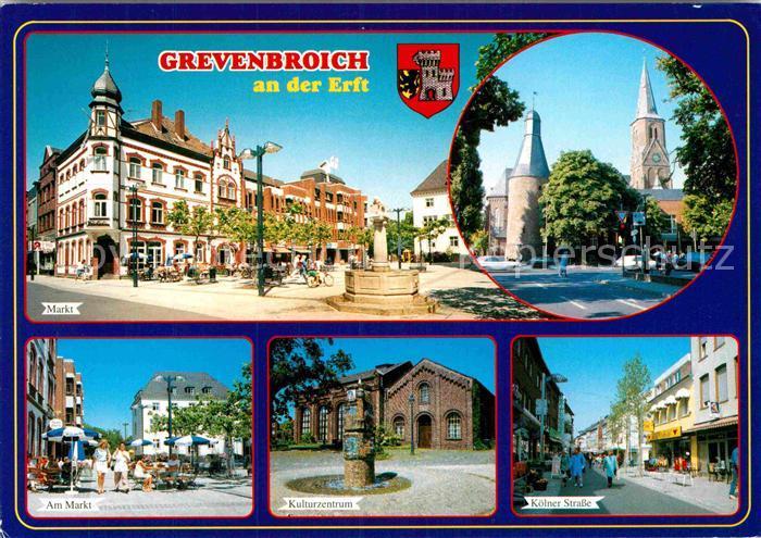AK / Ansichtskarte Grevenbroich Marktplatz Kirche Kulturzentrum Koelner Strasse Fussgaengerzone Kat. Grevenbroich