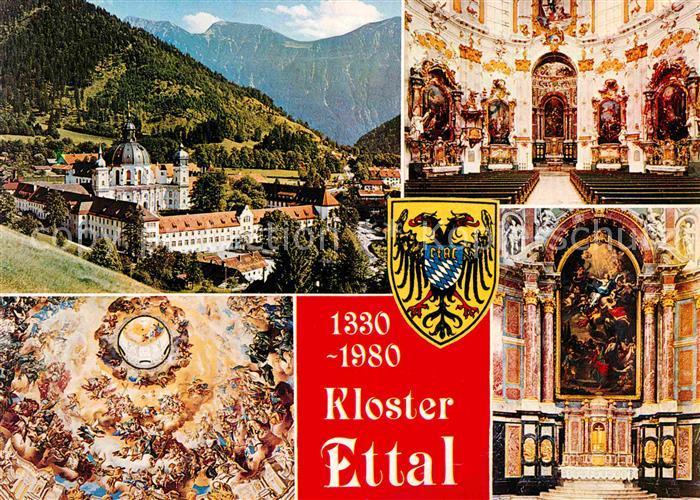 AK / Ansichtskarte Ettal Benediktinerabtei Kloster Innenansichten Fresken Kat. Ettal
