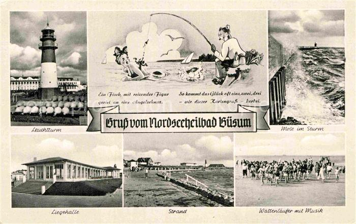 AK / Ansichtskarte Buesum Nordseebad Leuchtturm Liegehalle Strand Mole Sturm Wattenlaeufer Kat. Buesum