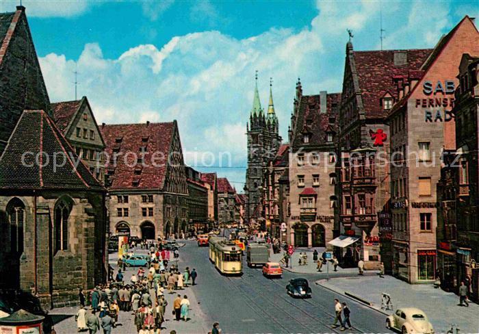 AK / Ansichtskarte Nuernberg Koenigstrasse mit Lorenzkirche Kat. Nuernberg