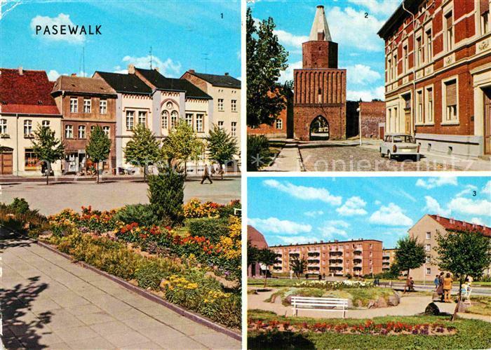 AK / Ansichtskarte Pasewalk Mecklenburg Vorpommern Ernst Thaelmann Platz Muehlentor Platz der Aufbauhelfer Kat. Pasewalk