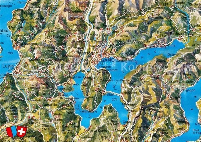 AK / Ansichtskarte Lago di Lugano Landkarte Kat. Italien
