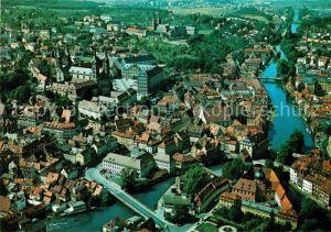 AK / Ansichtskarte Bamberg Fliegeraufnahme Regnitz Altes Rathaus Kaiserdom Kloster Michelsburg Kat. Bamberg