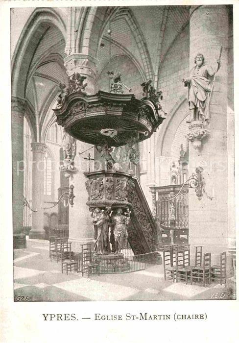 AK / Ansichtskarte Ypres Ypern West Vlaanderen Eglise Saint Martin ...